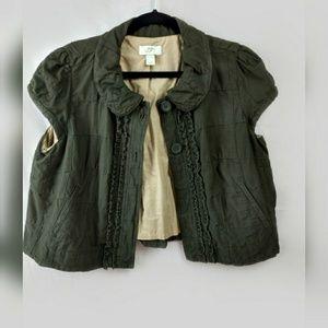 LOFT Olive Green Cropped Short Sleeved Jacket